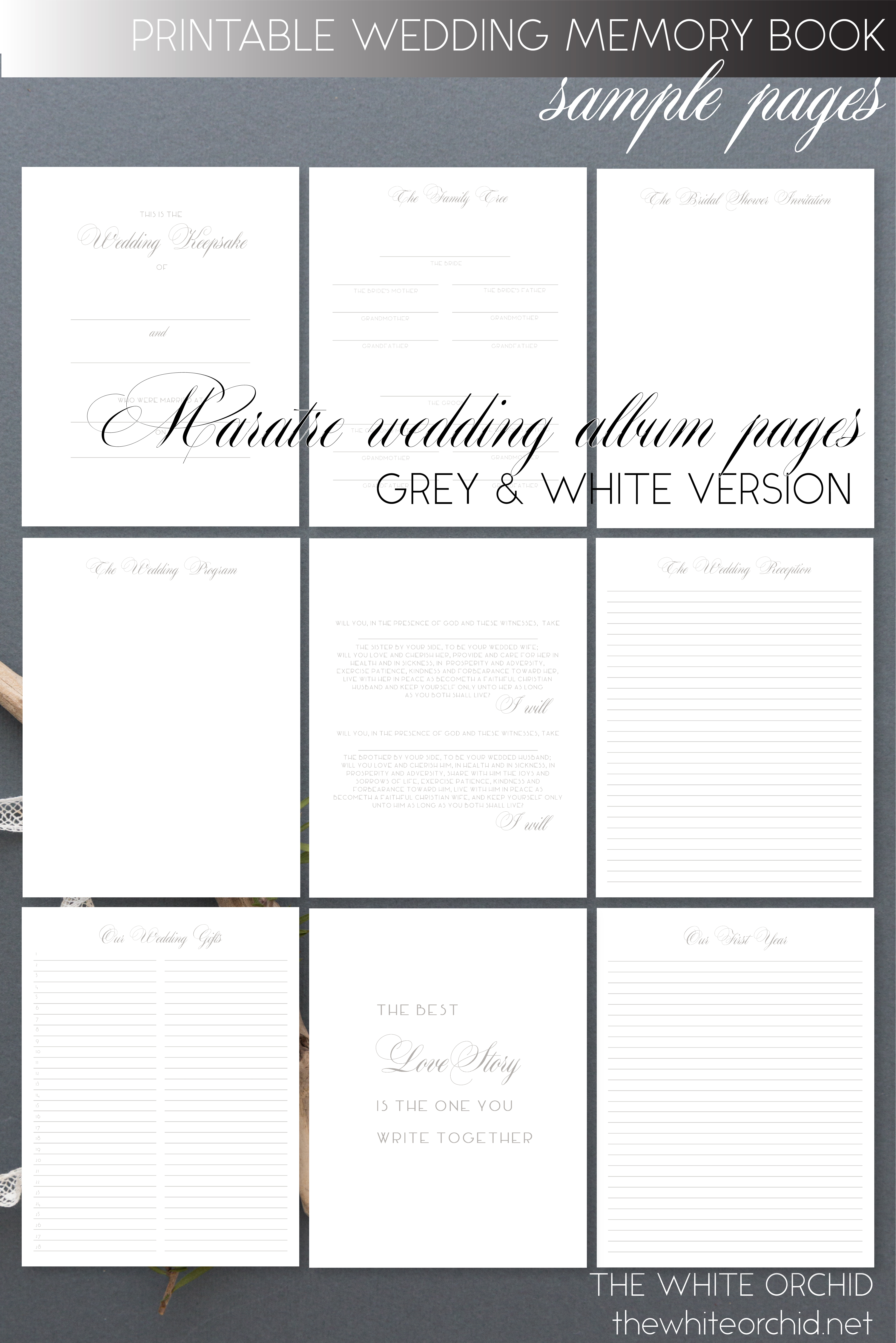 photo about Memory Book Printable known as Printable Wedding ceremony Memory e-book web pages, Maratre Wedding day Sbook Al PDF, gray white, 2-W801