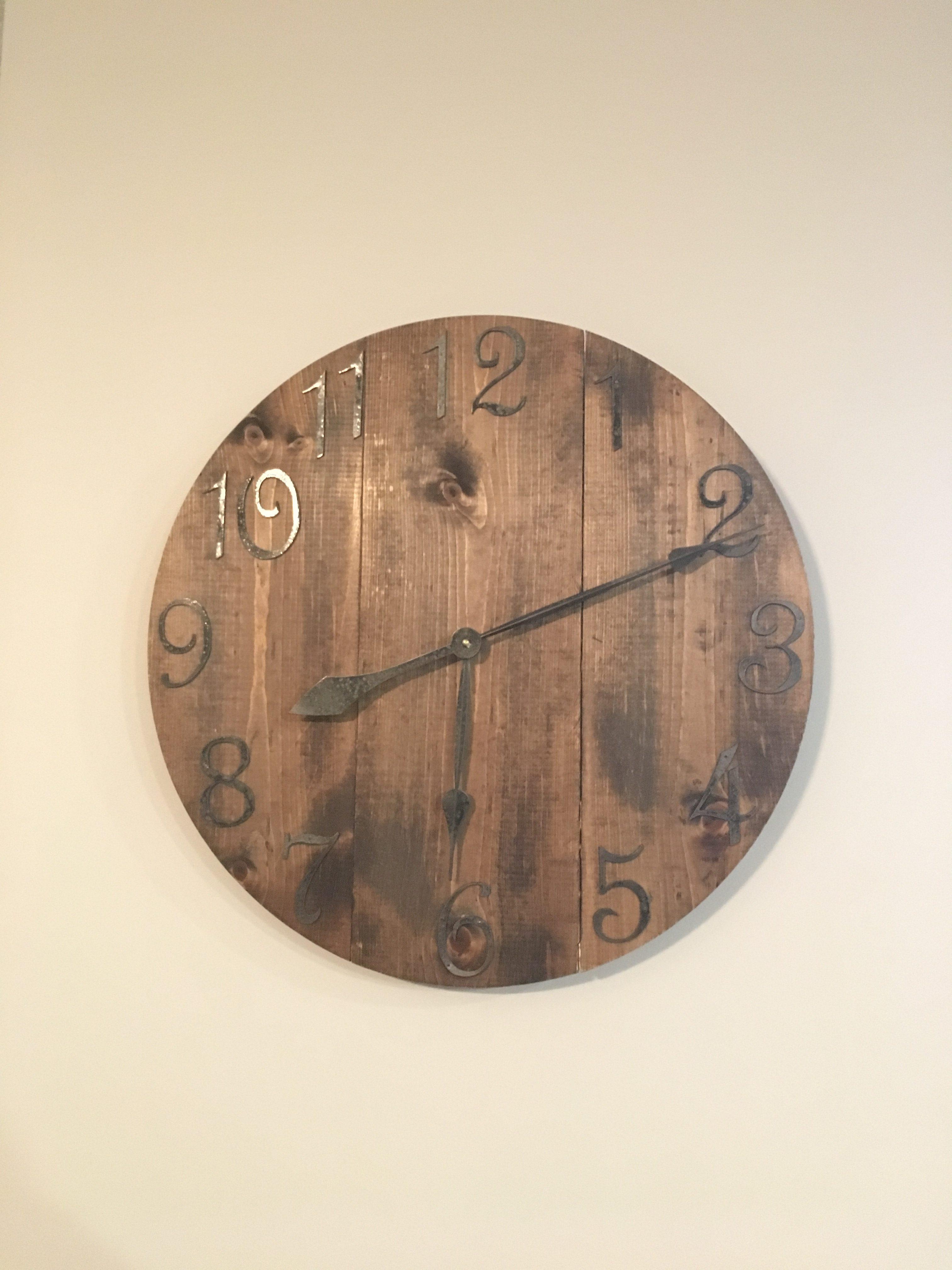 Large rustic wood clock large wall clock unique wall clock farmhouse clock farmhouse decor