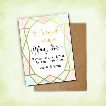 Geo Gold Birth Announcement Card and Envelope kimenink
