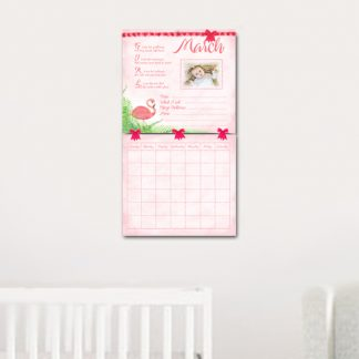 Pink-Flamingo-Baby's-First-Year-Calendar-hanging-on-wall-kimenink