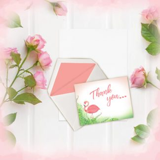 Pink Flamingo Thank You notes kimenink