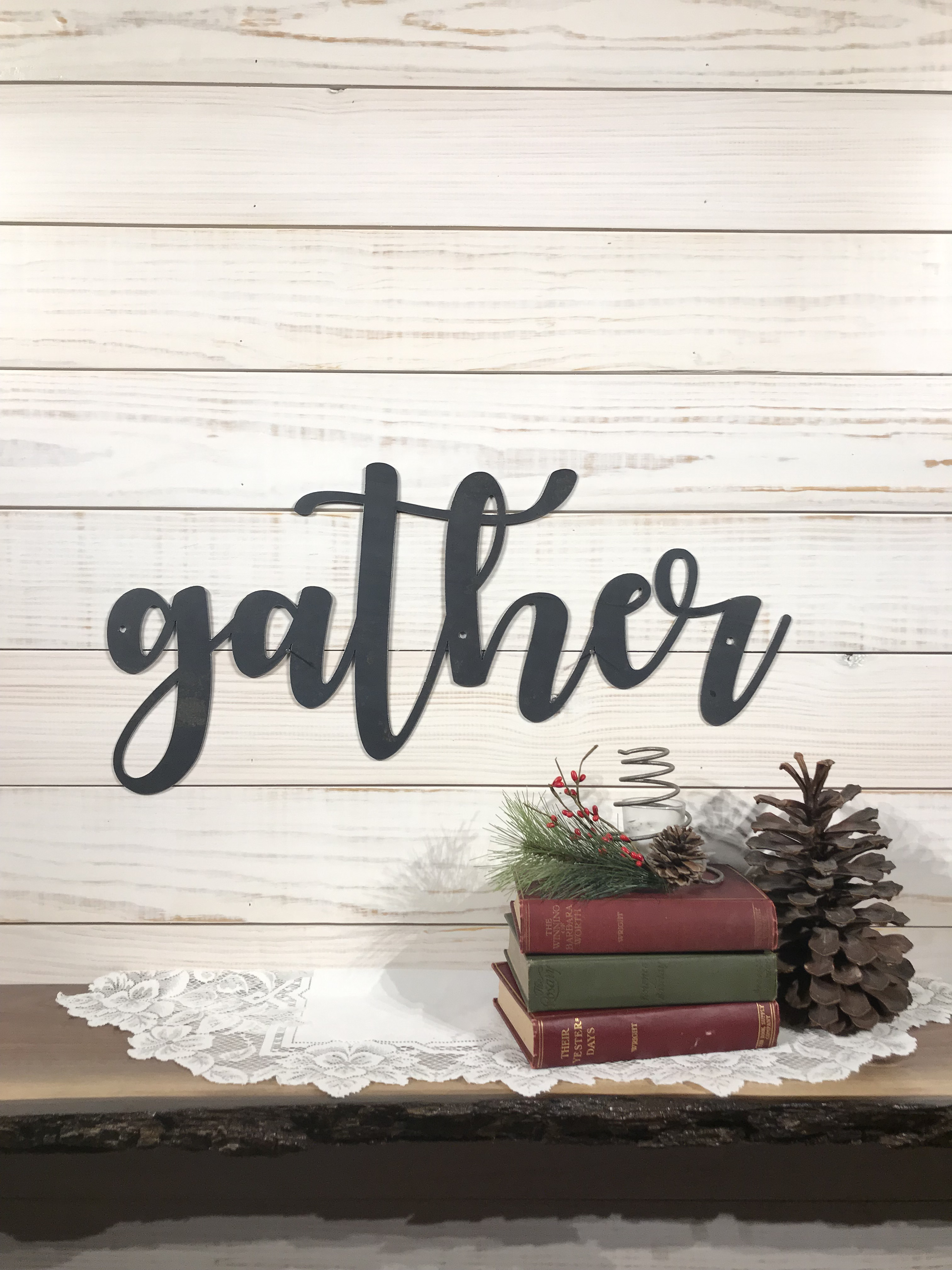 Gather Sign-Large Raw Metal Wall Words-Farmhouse Sign with Modern Font