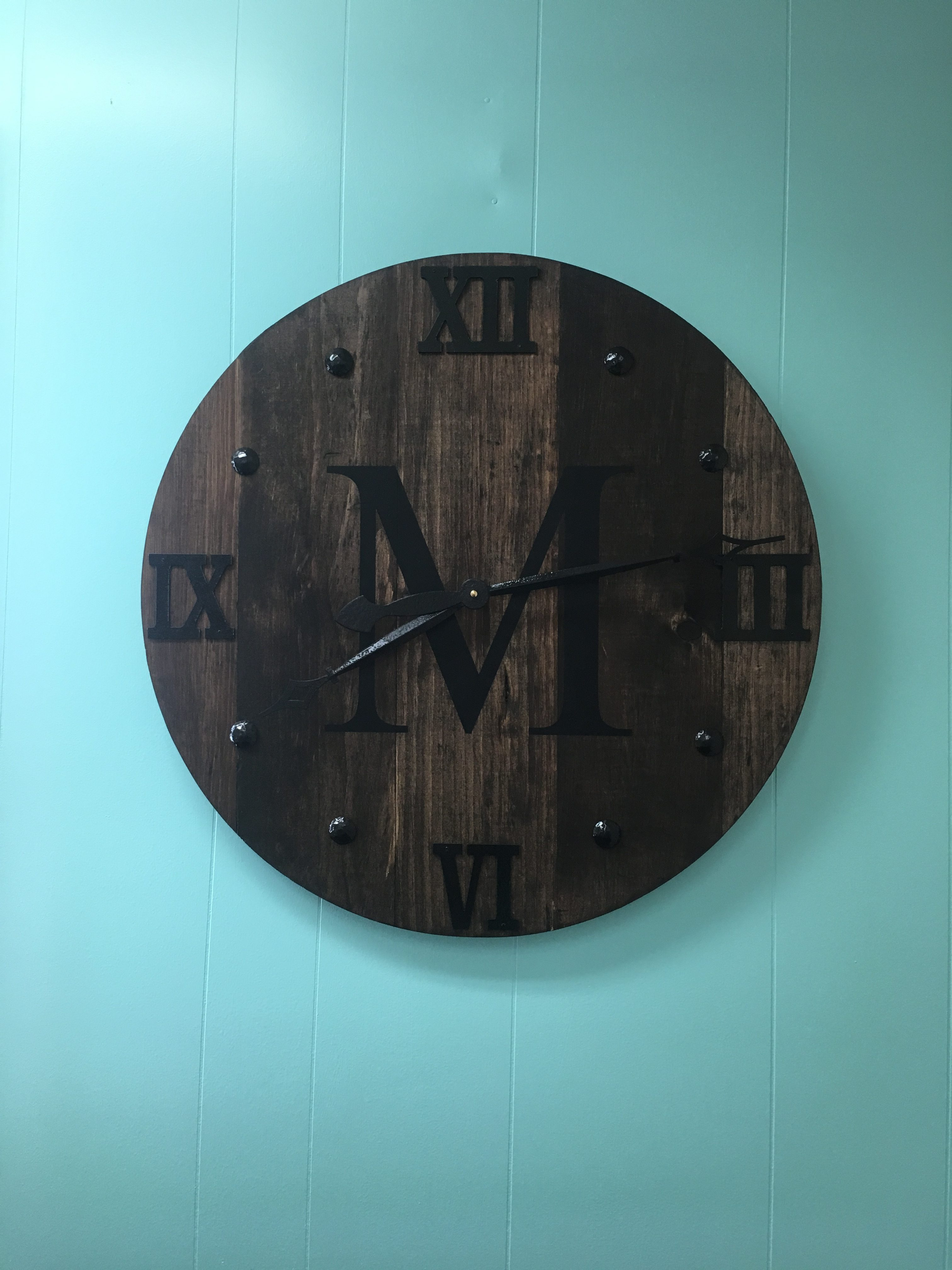24 Inch Large Rustic Wood Clock Large Wall Clock Unique Wall