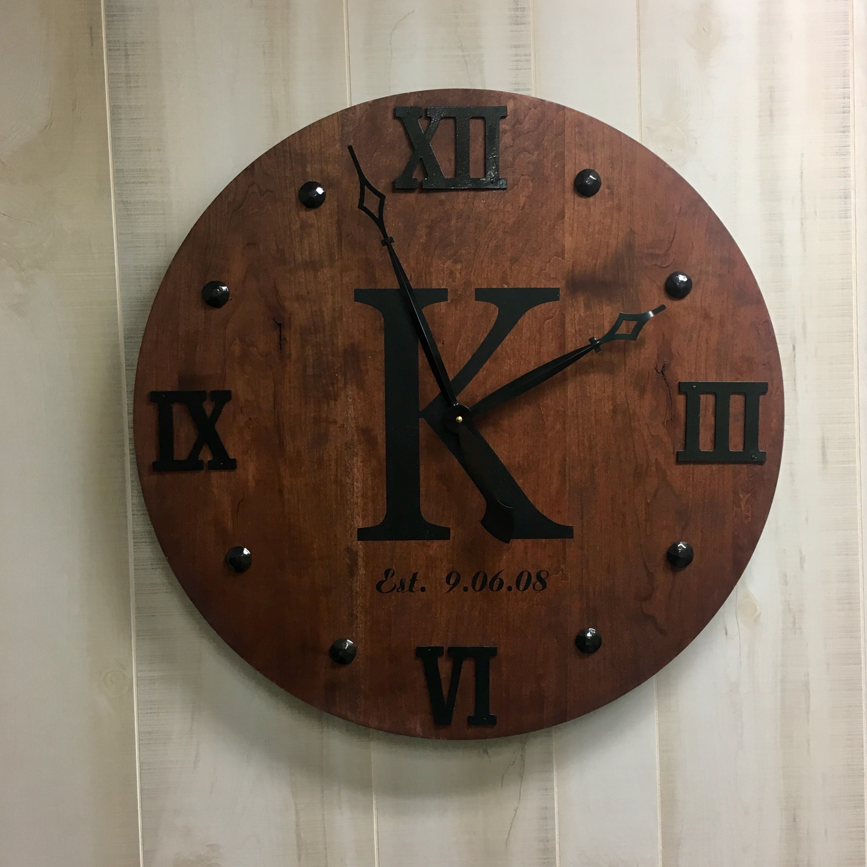 24 Inch Large Maple Specialty Wood Clock Large Wall Clock Unique