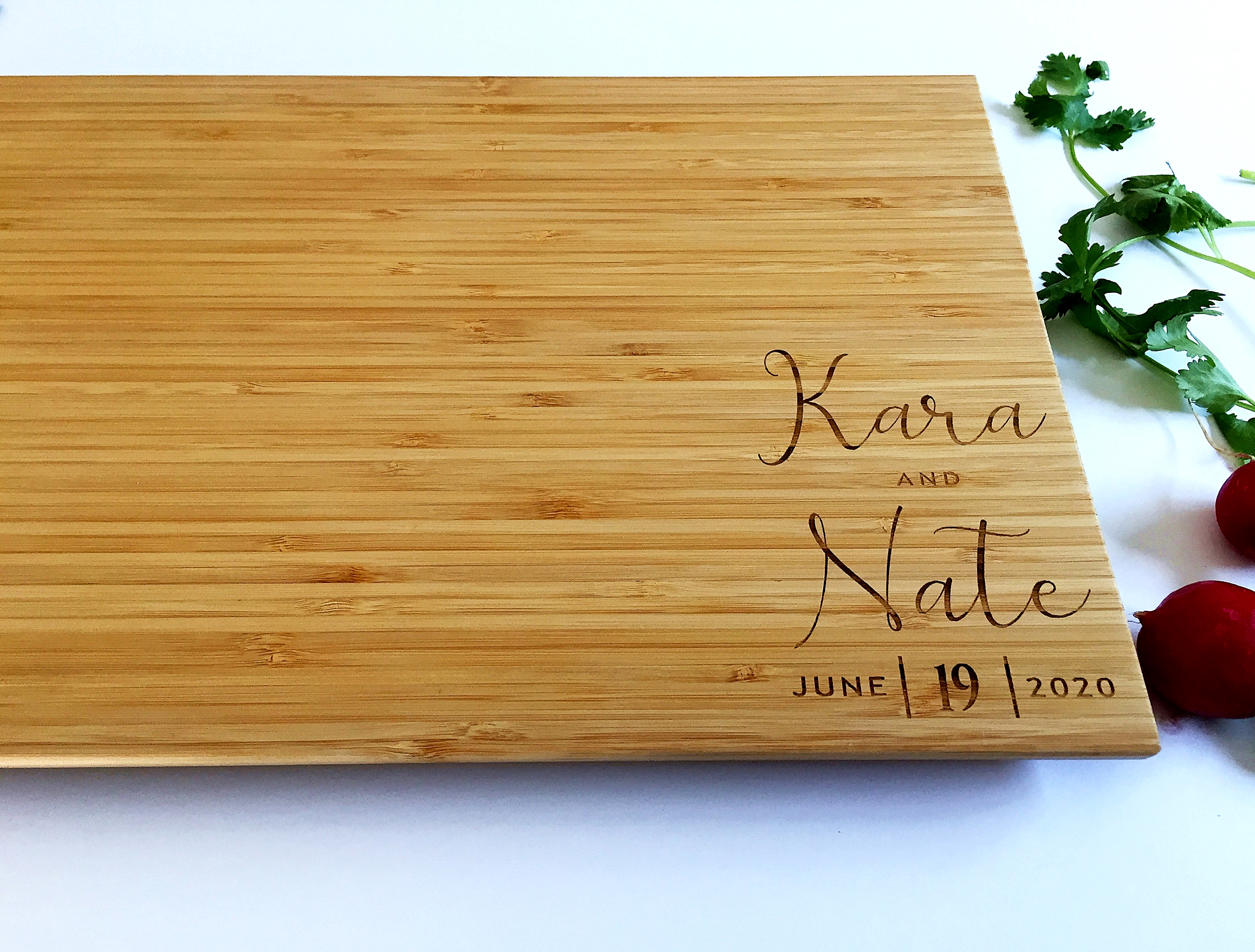 Personalized Engraved Bamboo Cutting Board Wedding Gift Custom Customized Bridal Gift The Village Of Artisans