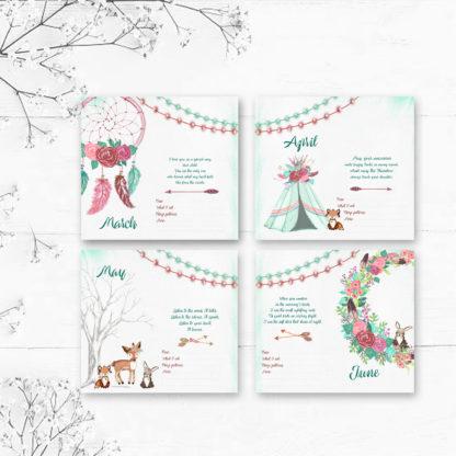 Little-Dreamer-Tribal Style Baby's-First-Year-Calendar-month-designs-kimenink