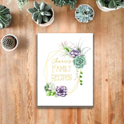 Recipe Binder Watercolor Succulents kimenink